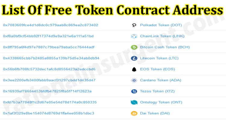 List Of Free Token Contract Address (May) Let's Check!