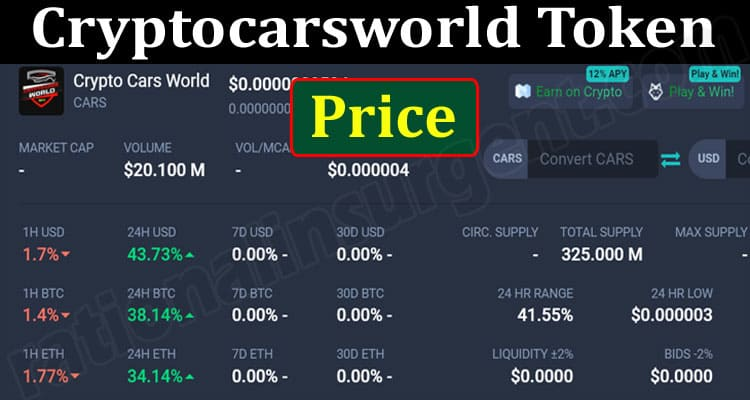 About General Information Cryptocarsworld Token Price